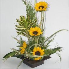Sunflower Floral Arrangements, Modern Floral Arrangements, Funeral Flower Arrangements, Beautiful Flower Arrangements, Floral Centerpieces, Beautiful Flowers, Altar Flowers, Church Flowers, Funeral Flowers