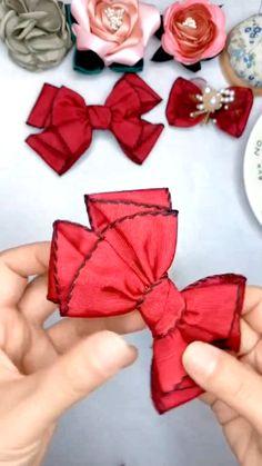 Diy Lace Ribbon Flowers, Paper Flowers Diy, Diy Ribbon, Ribbon Crafts, Fabric Flowers, Ribbon Art, Making Hair Bows, Diy Hair Bows, Handmade Hair Bows