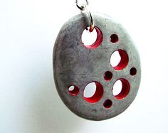 Red Concrete Pendant Necklace, Grey marbled necklace, Industrial jewelry, Grey and red punk necklace, Cheese holes pendant, Modern necklace