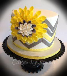Yellow and grey chevron cake
