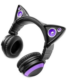 Choose the way you want to listen with these Cat Ear headphones from Brookstone. Comfortable cups let you keep the experience to yourself, while the colorful ears allow you to share your music with fr Cat Headphones, Headphones Online, Christmas Gifts For Teenagers, Gifts For Teens, Purple Cat, Blue Cats, Tween, Tech Accessories, Headset