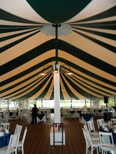 Striped Wedding Tent. Black and white