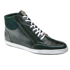 Belvedere Franco Crocodile Soft Calfskin Grass Green Sneakers..