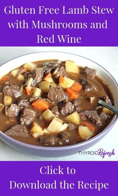 If you're looking for something to warm you up as the temperatures drop this gluten free lamb stew is the perfect thing. It's a great game-day recipe, or weeknight favorite, take a look and try making this for your family Beef Bone Broth, Irish Stew, Roasted Root Vegetables, Freshly Squeezed Orange Juice, Lamb Stew, Ground Lamb, Stuffed Mushrooms, Stuffed Peppers