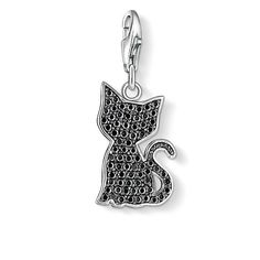THOMAS SABO charm pendant from the Charm Club Collection. Charm pendant Cat with lobster clasp - 925 Sterling silver - black zirconia-pavé Size: 1.6 cm This cute little kitten crafted from 925 Sterling silver with black zirconia is a must-have for all animal lovers.