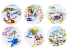 Vaisselle « nationale 7 », les 6 assiettes plates, Geneviève Lethu - 50 idées pour donner un air de vacances à sa déco - Elle Décoration
