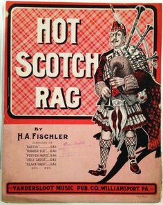 "1911 ""Hot Scotch Rag"" Ragtime Sheet Music Bagpipes Scotsman Large Format"