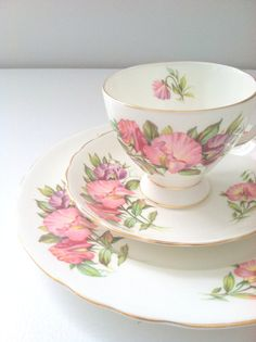 English Bone China Royal Tuscan Birthday Flowers April's Sweet Pea Pattern Fine Teacup, Saucer and Plate Trio Bone China Tea Party