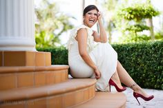 bride in red Christian Louboutin