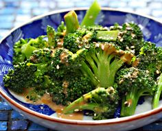 Vegan broccoli salad with spicy sesame peanut dressing, from The Perfect Pantry.