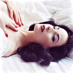 """Dita Von Teese's 3 Rules for Flaunting Retro Makeup...Part#1 1. Rock a Red Lip: """"I think red lipstick looks good on every woman,"""" Dita says about this retro-glam must-have. """"She just has to find the right red lipstick. I'm a big fan of a matte red lip because it's easier to wear, and it's always classic and always elegant."""""""