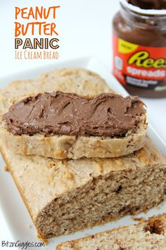 Peanut Butter Panic Ice Cream Bread - A sweet peanut butter dessert bread made with only two ingredients and covered with a chocolate peanut butter spread!