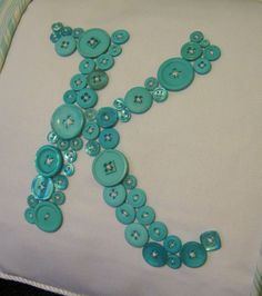 Monogram Baby K Boy | Letter 'K' Pillow Monogrammed in Aqua Blue Buttons by Letter Perfect ...