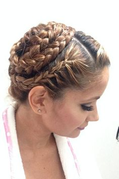 (HD-UBr280) hair braided into a crown that wrapped around back of head