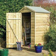 Here we have the 4 x 3 pressure treated shed that is ideal for small gardens or small storage needs. Visit Shedstore for our fantastic range of wooden sheds. Wooden Storage Sheds, Garden Storage Shed, Wooden Sheds, Small Shed Plans, Small Sheds, Outdoor Garden Sheds, Exterior Wood Stain, Shiplap Cladding