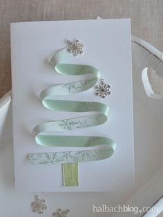 halbachblog I DIY Ideen: Karten basteln I Weihnachten I Advents I Weihnachtspost I selber machen I Bänder I ribbons I Filz I Accessoires I mint, grün, petrol