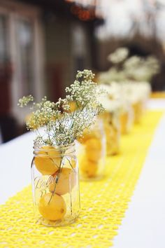 You are my sunshine birthday theme. Mason jars filled with inexpensive flowers, … You are my sunshine birthday theme. Mason jars filled with inexpensive flowers, sliced lemons, and water Sunshine Birthday Parties, Birthday Party Themes, Spring Party Themes, Spring Birthday Party Ideas, Party Summer, Themed Parties, Summer Time, Lemon Party, Cheap Flowers