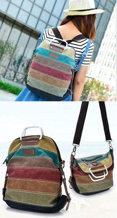 87045a13204c School Shoulder Bag Handbag Multifunctional Backpacks Rainbow Splicing  Colorful Striped Canvas Backpack  backpack  Bag
