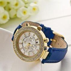 Rhinestones high quality strap leather unisex watch.