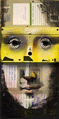 upcycled floppy disks and cassette = Mona Lisa