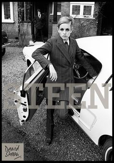 TWIGGY & HER MANAGER, JUSTIN, OUTSIDE DAVID STEEN'S HOME, SURREY, 1967. AVAILABLE FOR PURCHASE AT: http://davidsteen.co.uk/189#