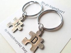 Puzzle Pieces Couple Keychain Set, Key Ring Gift, Key Chain, Husband and Wife, Girlfriend and Boyfriend, We go together!, Initial, Valentines