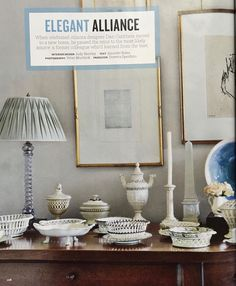 Creamware collection of designer Dan Carithers - including a lovely porcelain obelisk! House Beautiful
