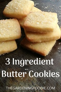 These 3 ingredient Butter Cookies is absolute melt in your mouth deliciousness. It is super easy to make and has an irresistibly rich buttery flavour and a light crisp texture. Brownie Desserts, Oreo Dessert, Mini Desserts, Easy Desserts, Delicious Desserts, Dessert Recipes, Healthy Desserts, Chocolate Chip Shortbread Cookies, Toffee Cookies