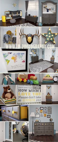 baby boy eclectic world traveler nursery grey yellow blue diy vintage