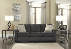 Vintage Casual design of the Alenya - Charcoal Living Room Collection by Signature Design by Ashley Furniture the perfecting addition to the relaxing decor of any living area. Living Room Grey, Living Room Sofa, Living Area, Living Room Furniture, Living Spaces, Grey Furniture, Small Living, Luxury Furniture, Modern Living