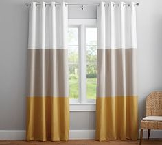"""Color Block Drape with Polished Nickel Grommet, Set of 2, 108"""", Ivory/Taupe/Honey Gold"""