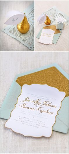 DIY wedding planner with di wedding ideas and tips including DIY wedding tutorials and how to instructions. Everything a DIY bride needs to have a fabulous wedding on a budget! , Mint and gold wedding Mint Gold Weddings, Wedding Mint Green, Orange Weddings, Typography Wedding Invitations, Wedding Stationary, Gold Invitations, Laser Cut Invitation, Invitation Design, Invitation Suite
