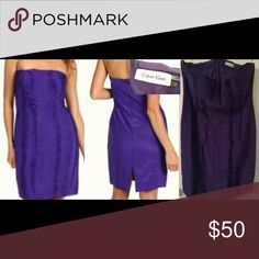 Calvin Klein Strapless Tiered Dress Size 14 Color: Grape Original price $168, Worn 2 times. Knee-Length Cocktail dress, Stretch Bodycon Style Dress. Dresses Strapless