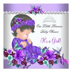 ethnic princess baby shower purple teal blue pink card | blue, Baby shower invitations