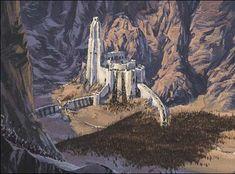 Helms Deep , the great fortress of Rohan . The Hobbit Movies, O Hobbit, Fantasy Castle, Fantasy Art, Fantasy Landscape, Landscape Art, Lord Of Rings, Helms Deep, John Howe