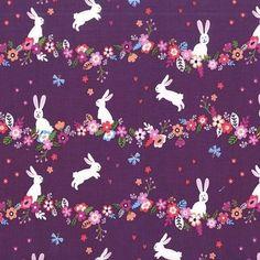 Bunnies Floral Berry Purple - Cotton