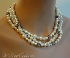 Bridal Pearl Multi Strand Necklace in Twisted Swarovski Pearls and Aged Patina by AlexiBlackwellBridal, $89.00