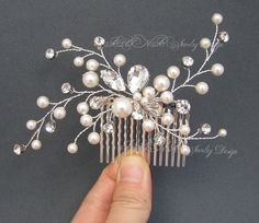Rhinestone Pearls Hair Comb Wedding Headpiece Leaf by adriajewelry