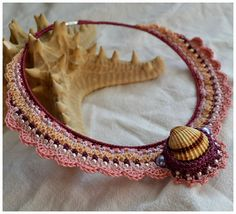 crochet elegant bib necklace, sea shell, vintage look, handmade lace, gift, beach wedding, pink, raspberry orange ecru beige sand,purple ,