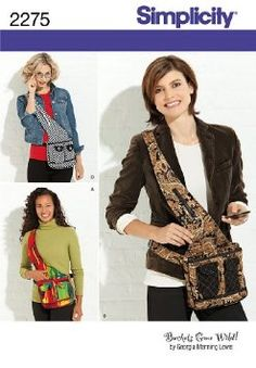 Simplicity 2275 Over the Shoulder Day Bag - - Smiths Depot Sewing Pattern Superstore Dog Clothes Patterns, Sewing Patterns For Kids, Bag Patterns To Sew, Simplicity Sewing Patterns, Mccalls Patterns, Sewing Ideas, Sewing Tips, Cross Shoulder Purses, Wallet Sewing Pattern