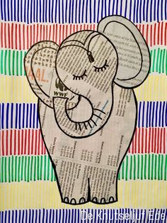 Art For Kids, Crafts For Kids, Arts And Crafts, Paper Crafts, Newspaper Drawing, Elmer The Elephants, Circus Crafts, Old Book Crafts, Preschool Art Projects