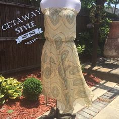 French connection Strapless patterned summer dress French Connection Strapless (cream, yellow, light blue and brown) patterned summer dress.  The skirt is cut irregular.  Fully lined.  👀SAMPLE dress... WORDS SAMPLE ARE WRITTEN IN THE SKIRT in Marker H O S T  P I C K!  GeTaWaY StYlE 08/22/2016 French Connection Dresses Asymmetrical