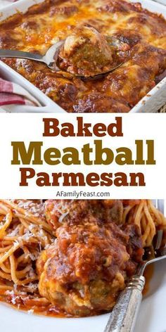Baked Meatball Parmesan is delicious Italian comfort food! Tender Italian-style meatballs smothered in homemade tomato sauce and covered in three types of cheese – then baked until hot and bubbly! Low Carb Dinner Recipes, Meat Recipes, Cooking Recipes, Meatball Recipes, Barbecue Recipes, Meatloaf Recipes, Recipies, Pasta Recipes, Sirloin Recipes