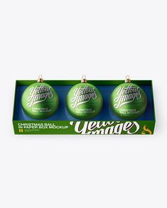 Three Matte Metallic Christmas Balls in Paper Box Mockup (High-Angle Shot) (Preview)
