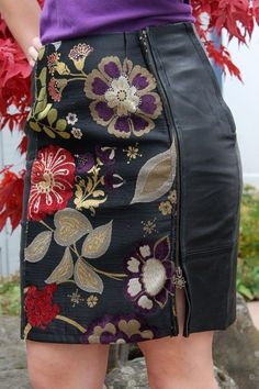 Make a too-small leather skirt bigger by adding a beautiful fabric panel and a long zipper to the front.(How To Make Dress Bigger) Sewing Clothes, Custom Clothes, Diy Clothes, Refashioned Clothes, Skirt Fashion, Diy Fashion, Womens Fashion, Fashion Tips, Renegade Seamstress