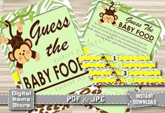 Printable Guess The Baby Food Monkey  Baby by DigitalitemsShop