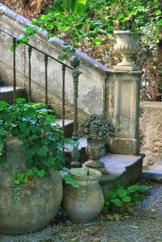 French Biot Jar at garden steps. Garden Urns, Cacti Garden, Succulent Planters, Garden Paths, Garden Stairs, Garden Cottage, My Secret Garden, French Country Style, Dream Garden