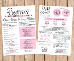 Infographic Wedding Program, Fun Wedding Program, Printable Wedding Program, Unique Program, Modern Program, Digital Download by PeekabooPenguin on Etsy