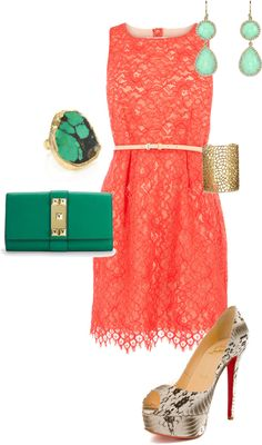 My perfect summer wedding outfit.loooove the coral with emerald and snakeskin accents. An olive-skinned girls dream style Summer Wedding Outfits, Summer Outfits, Cute Outfits, Summer Dresses, Wedding Summer, 2017 Wedding, Summer Weddings, Girly Outfits, Party Fashion