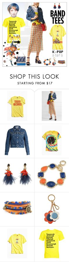"""The K-POP Band T-Shirts"" by yours-styling-best-friend ❤ liked on Polyvore featuring Urban Outfitters, Miu Miu, Lizzie Fortunato, 1st & Gorgeous by Carolee, Orla Kiely, Disobedient and Spartina 449"